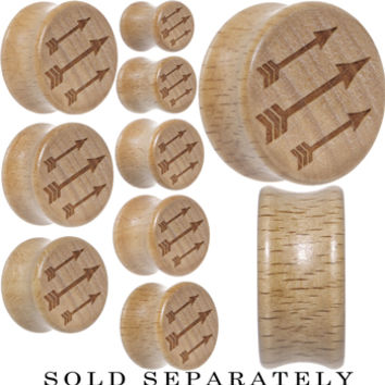 Archer's Arrows Saddle Plug in Organic Beech Wood | Body Candy Body Jewelry