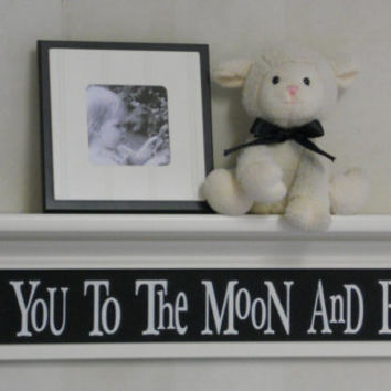 "Black Nursery Decor - Baby Nursery Wall Art 30"" Linen White Shelf and Sign - Love You To The Moon And Back"