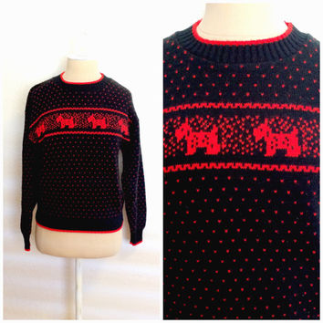 Vintage 80's Sweater // Black and Red Pixelated Terrier Knit Sz S-M
