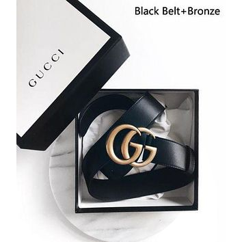 DCCK2 GUCCI Men Woman Fashion Smooth Buckle Leather Belt