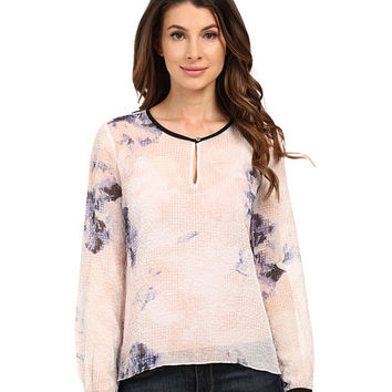 Ellen Tracy Keyhole Flared Blouse
