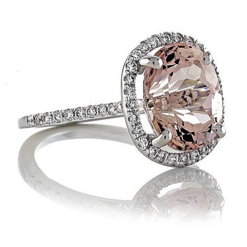 14kt White Gold Oval  2.26ct Peach-Pink Morganite and FSI1 Diamonds .50tw Halo Engagement Ring Wedding Ring  Anniversary Ring Dinner Ring