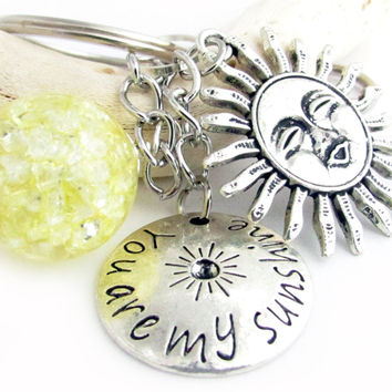 Celestial Keychain with Love Quote