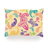 "Emine Ortega ""Namaste"" Floral Abstract Oblong Pillow"