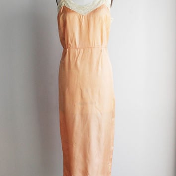 Vintage 1950s Nightgown, Blush Peach, Full Slip