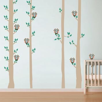 cik1674 Full Color Wall decal bedroom children's Custom Baby Nursery tree nusery decal tree forest owl birds