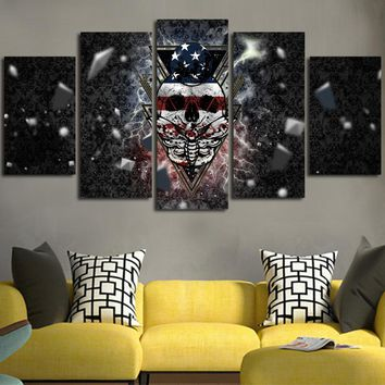Skull And Dragonfly Wall Art Canvas