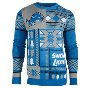 "Detroit Lions Official NFL Men's ""Ugly Patches"" Sweater by Klew"