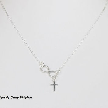 SS Tiny Cross Necklace Infinity Sterling Silver Wire Pendant Best Friend Bridesmaid Maid of Honor Mother Sister Gift