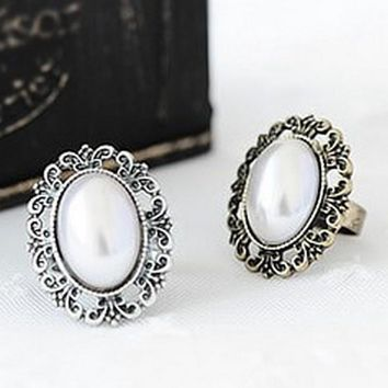Vintage Rings For Women Simulated Pearl