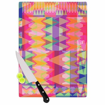 "Miranda Mol ""Triangle Fun"" Pink Multicolor Cutting Board"