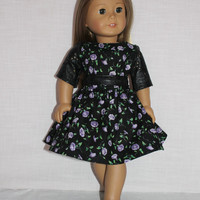 2 piece set! black floral dress with leather look sleeves and leather look belt, 18 inch doll clothes, american girl, maplelea