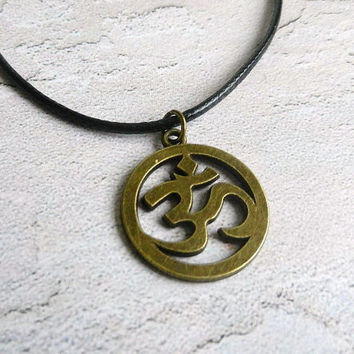 Men's Necklace OM antique Bronze tone, Om Necklace Male necklace Om charm Yoga necklace Namaste necklace namaste mens pendant mens jewelry