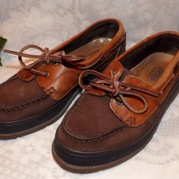 Womens Vintage Bass Two Tone Natural Leather Boat Shoes Size 7 . 5