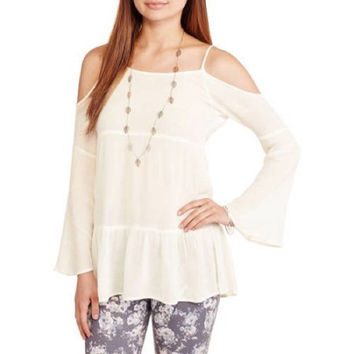 Ali & Kris Women's Juniors Off Shoulder Peasant Top, Natural, Small