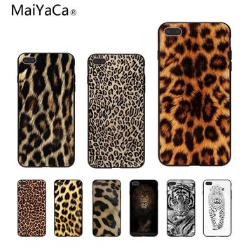 MaiYaCa Fashion Tiger Leopard Print Panther Photo Soft Phone Case For iPhone 7 plus 6S 5 6S plus 8 8plus X Mobile phone shell