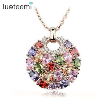 Luoteemi Newest Arrival Luxury Rose Gold Color Multicolor Cubic Zirconia Big Round Necklace Pendants for Women Fashion Jewelry