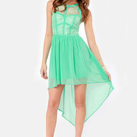 Searching High and Low Lace Mint Green Dress