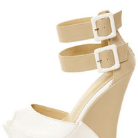 Monaco 3 White and Beige Belted Color Block Wedges