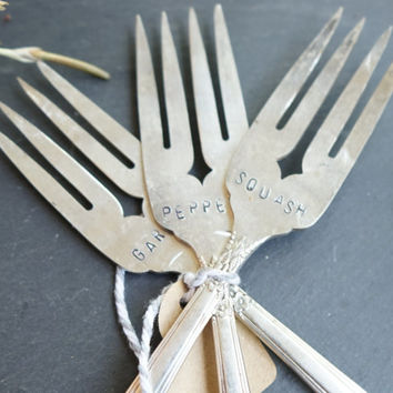 Set of 3 Vegetable Markers - Hand Stamped Garden Marker -  Rustic Garden Accessory -  Vintage Silver Forks - Silver Plated Flatware