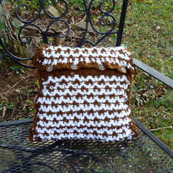 Pillow Cover - Brown and White Crochet