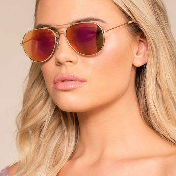 Eastern Sky Rose Gold Mirrored Aviator Sunglasses