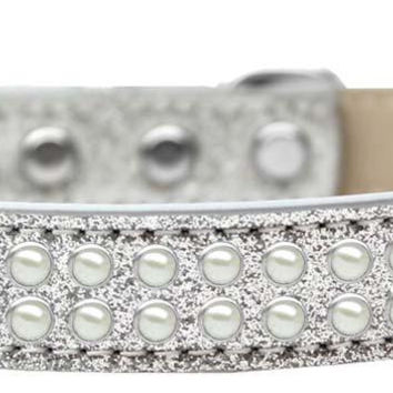 Two Row Pearl Size 16 Silver Ice Cream Dog Collar