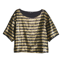 H&M - Sequined Top - Black/Gold - Ladies