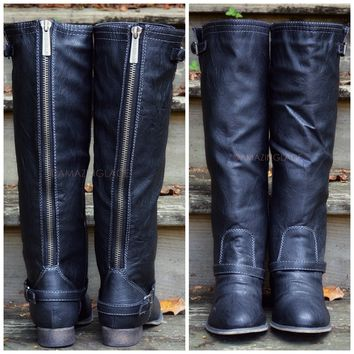 Montana Skye Black Strap Riding Boots