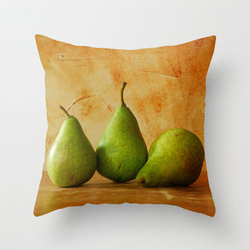 Pears pillow, home decor cushion with textured background, fruit cushion cover, indoor outdoor living room, patio furnishing