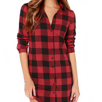 Plaid Shirt Collar Long Sleeve Blouse
