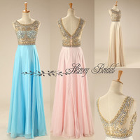Harvey Bridal KPR117 Real Pictures Hot Sale Crystal Evening Dresses Ready to wear Cap Sleeves Chiffon Floor Length A-line Prom Dresses 2015