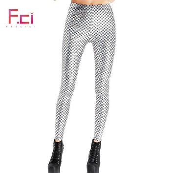 2018 Fashion Summer Women Shiny Scale Pants Digital Printed Female  Mermaid Fish Scale Leggings Free Shipping Plus Size S~4XL