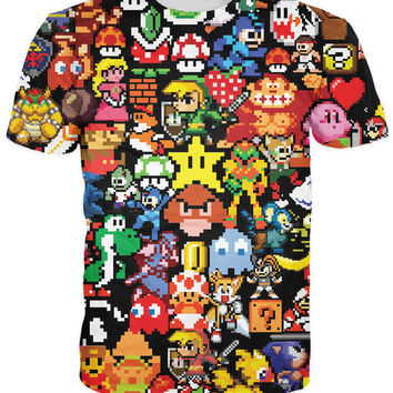 Arcade Collage T-Shirt Pikachu Kirby Mario Chocobo arcade style Cartoon Character t shirt Women Men Summer Style tops tee