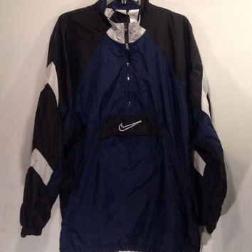 CYBER SALE Vintage NIKE windbreaker blu/blk 90s retro pull over half zip