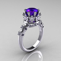 Modern Vintage 10K White Gold 1.5 Carat Tanzanite Diamond Classic Armenian Bridal Ring AR105-10WGDTZ