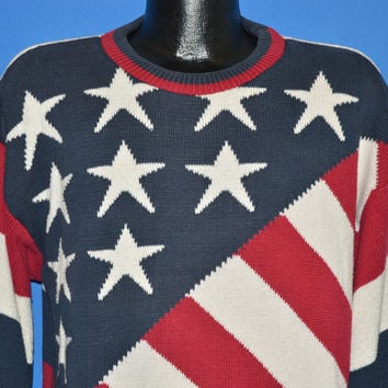 90s Bill Blass American Flag Stars and Stripes Sweater Large