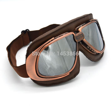 Copper Retro Vintage Motorcycle Racing Goggles Eyewear Helmets Gafas for Aviator Pilot Cruise