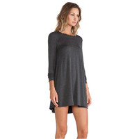 Dark Grey Loose Long Sleeve Mini Dress