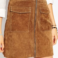 Pepe Jeans Zip Front 70s Suede Skirt at asos.com