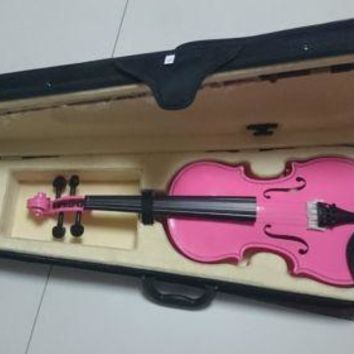 Student Acoustic Violin Full 4/4 Maple Spruce with Case Bow Rosin Pink Color