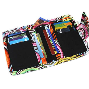 Fabric Bifold Wallet for Women - ladies wallet - cash wallet - womens wallet - coin pocket wallet  - card holder wallet - vegan wallet