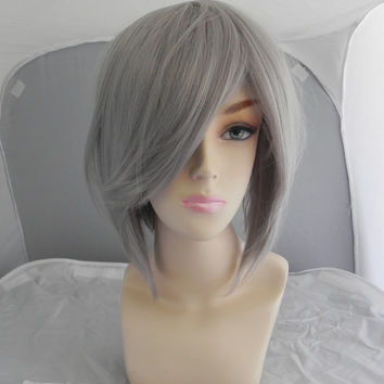 ON SALE // Short Straight A Line Wig – Beautiful Luscious Hair, Silver Wig, Cosplay Wig, Costume Wig, Grey Gray Hair