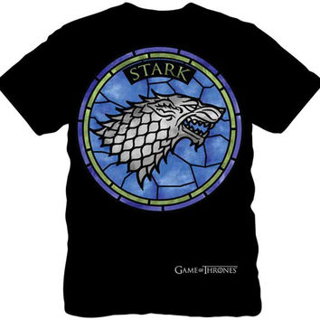 Game of Thrones Men's Stained Glass Stark Wolf T-Shirt