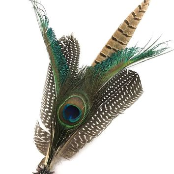 Deluxe German themed Hat Pin with Peacock Feathers