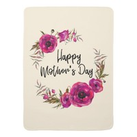 Fuchsia Poppies Floral Wreath Happy Mother's Day Baby Blanket