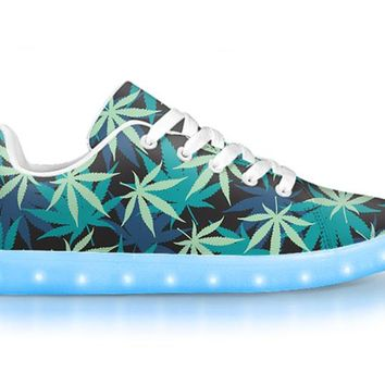 Blue & Green - APP Controlled Low Top LED Shoes