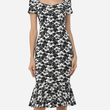 Streetstyle  Casual Assorted Colors Floral Printed Zips Elegant Asymmetric Neckline Bodycon-dress