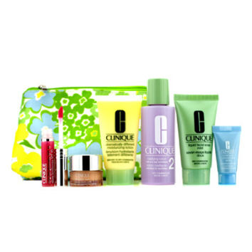 Clinique Travel Set: Liquid Soap + Clarifying Lotion #2 + DDML + Turnaround Concentrate + All About Eyes + Lip Gloss #14 + Bag 6pcs+1bag - Default