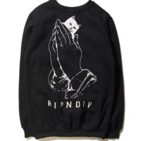 Trendy Ripndip Unisex Long Sleeve Pocket Cat Sweater Pullovers